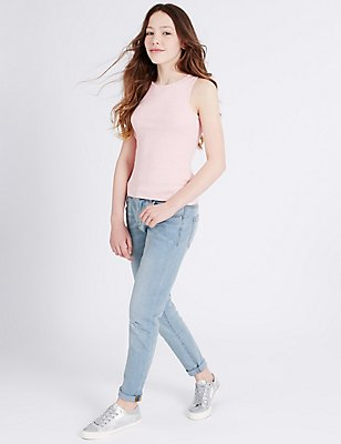 Cotton Rich Jeans with Adjustable Waist (3-14 Years), LIGHT DENIM, catlanding
