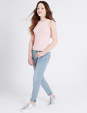 Cotton Adjustable Waist Jeans with Stretch (3-14 Years), LIGHT DENIM, catlanding