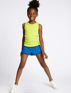 Pure Cotton Frill Shorts (3-14 Years), CORNFLOWER MIX, catlanding