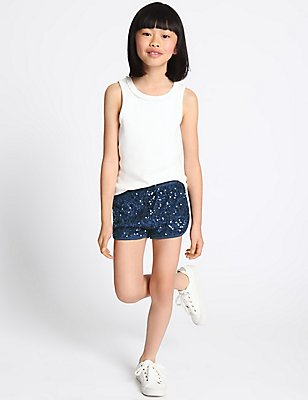 Sequin Shorts (3-14 Years), NAVY, catlanding
