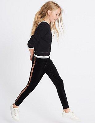 Jogginghose aus Velour (3–14 Jahre), SCHWARZ MELANGE, catlanding