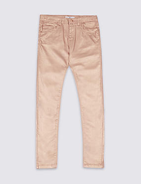 Cotton Blend Pink ShimmerJeans (3-14 Years), DUSKY PINK, catlanding