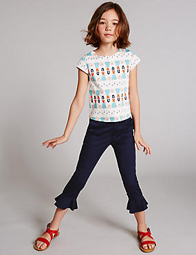 Cotton Peplum Hem Trousers with Stretch (3-14 Years), DARK NAVY, catlanding