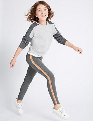 Glitter Stripe Cotton Leggings  (3-14 Years), GREY MARL, catlanding