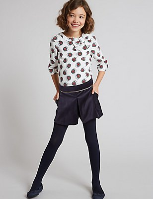 Cotton Rich Velvet Pleated Shorts (3-14 Years), DARK NAVY, catlanding
