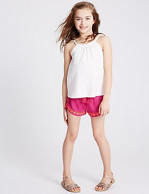 Embroidered Woven Shorts (3-14 Years), BRIGHT PINK MIX, catlanding