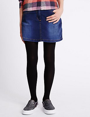 Cotton Rich Adjustable Waist Skater Skirt (3-14 Years), DENIM, catlanding
