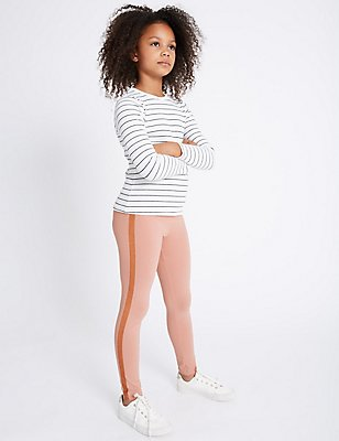 Glitter Stripe Cotton Leggings (3-14 Years), ROSE PINK, catlanding