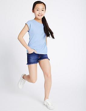 Cotton Rich Denim Shorts (3-14 Years), DENIM, catlanding
