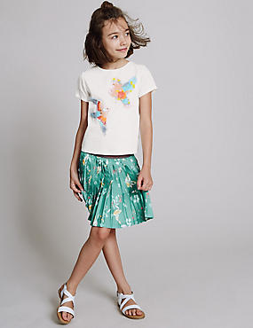 Bird Print Pleated Skirt (3-14 Years), BRIGHT AQUA, catlanding