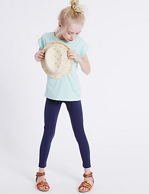 StayNEW™ Cotton Leggings with Stretch (3-14 Years), NAVY, catlanding