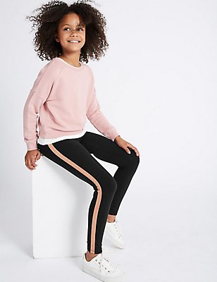 Glitter Stripe Cotton Leggings  (3-14 Years), BLACK, catlanding