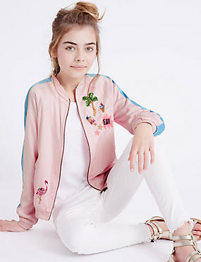 Sequin Bomber Jacket (3-14 Years), PINK, catlanding