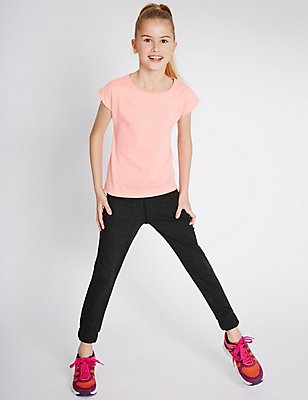 Cotton Blend Drawstring Joggers (5-14 Years), DARK GREY, catlanding