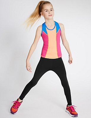Cotton Rich Sport Leggings (5-14 Years), BLACK, catlanding