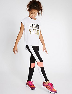 Sport Panel Leggings (5-14 Years), BLACK MIX, catlanding