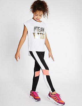 Sport-Leggings mit hohem Baumwollanteil und Paneldetail (5–14 Jahre), SCHWARZ MELANGE, catlanding