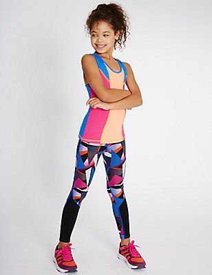 All Over Print Leggings (5-14 Years), PURPLE MIX, catlanding