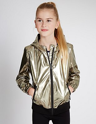 Faux Leather Jacket with Stormwear™ (5-14 Years), GOLD, catlanding