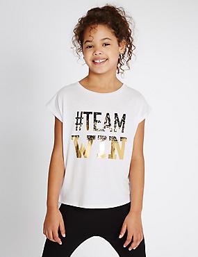 Team-Win-Sportoberteil (5–14 Jahre), WEISS MELANGE, catlanding