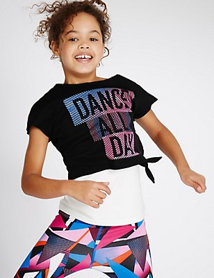 Sport Dance Short Sleeve Top (5-14 Years), BLACK MIX, catlanding