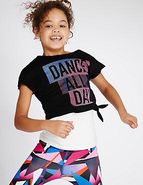 Kurzarm-Tanzsport-Oberteil (5–14 Jahre), SCHWARZ MELANGE, catlanding