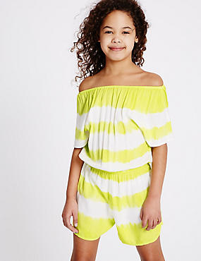 Striped Tie Dye Playsuit (3-14 Years), LIME MIX, catlanding
