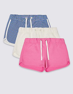 3 Pack Cotton Rich Shorts with StayNEW™ (3-14 Years), AQUA MIX, catlanding