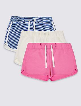 3er-Pack Shorts mit hohem Baumwollanteil und StayNEW™ (3–14 Jahre), AQUA MELANGE, catlanding
