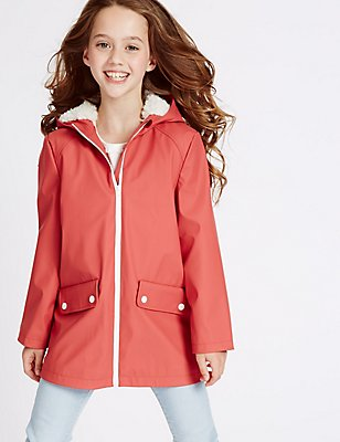 Fisherman Hooded Coat (3-16 Years), DARK RED, catlanding