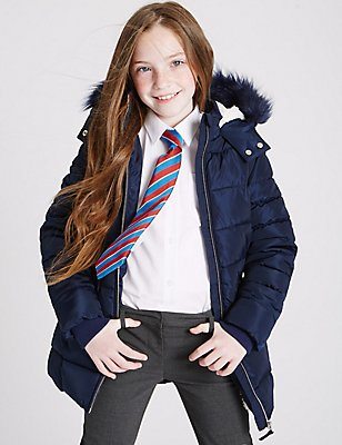 Faux Fur Padded Coat (3-16 Years), NAVY, catlanding