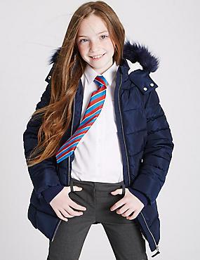 Gevoerde jas van imitatiebont (3-16 jaar), MARINE, catlanding