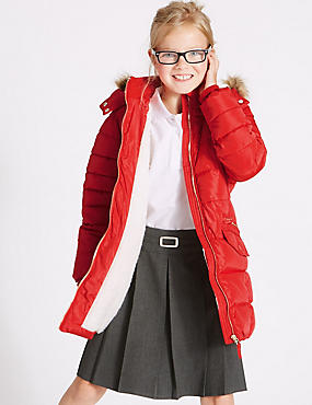 Longline Padded Coat With Stormwear™ (3-16 Years), RED, catlanding