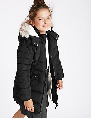 Faux Fur Zip Through Padded Coat (3-16 Years), BLACK, catlanding