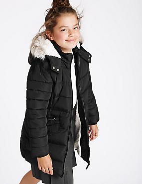 Gevoerde jas van kunstbont met ritssluiting (3-16 jaar), ZWART, catlanding