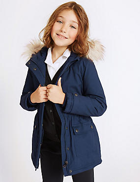 Pure Cotton Faux Fur Parka With Stormwear™ (3-16 Years), NAVY, catlanding