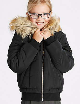 Faux Fur Zipped Through Jacket With Stormwear™ (3-16 Years), BLACK, catlanding