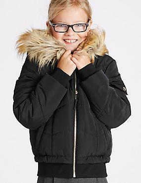 Faux Fur Zipped Through Jacket (3-16 Years), BLACK, catlanding