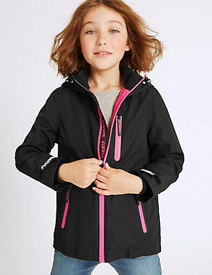 Long Sleeve Hooded Coat (3-16 Years), BLACK, catlanding
