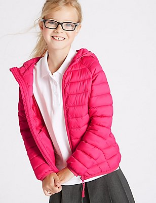 Zipped Through Padded Coat WIth Stormwear™ (3-16 Years), PINK, catlanding