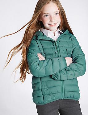 Lichte, gewatteerde jas (3-16 jaar), BLAUWGROEN, catlanding