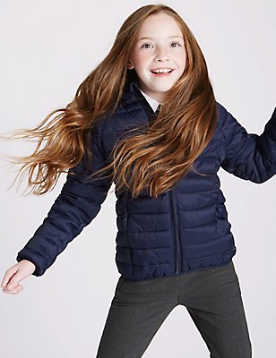 Lightweight Padded Coat (3-16 Years), NAVY, catlanding