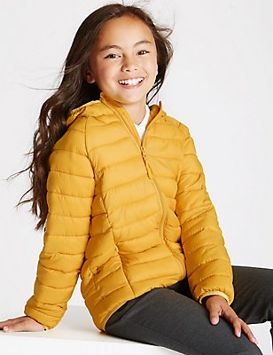 Lightweight Padded Coat (3-16 Years), DARK YELLOW, catlanding