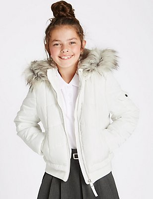 Faux Fur Zip Through Neck Jacket (3-16 Years), SOFT WHITE, catlanding