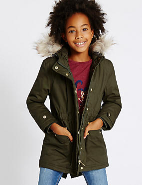 Pure Cotton Faux Fur Parka with Stormwear™ (3-14 Years), KHAKI, catlanding