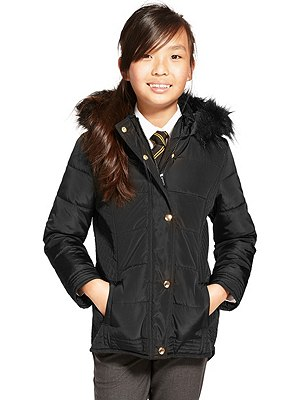 Thermal Hooded & Padded Coat with Stormwear™ (3-14 Years), BLACK, catlanding
