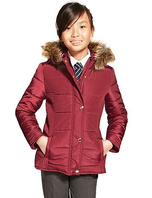 Hooded Faux Fur Trim Thermal Coat with Stormwear™ (5-14 Years), RED, catlanding