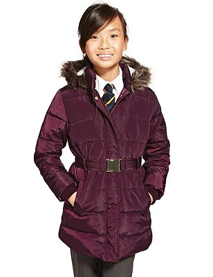 Thermal Long Padded Belted Coat with Triple Action Stormwear™ , PURPLE, catlanding