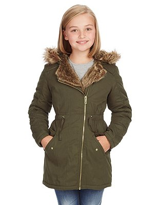 Faux Fur Hooded Thermal Parka with Stormwear™ (5-14 Years), KHAKI, catlanding