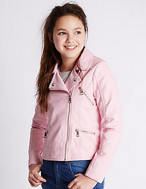 Faux Leather Biker Jacket (5-14 Years)